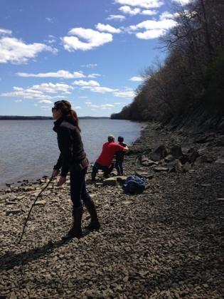teaching Desi to skip rocks