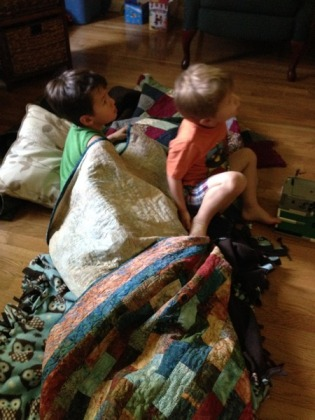 Desi and Andrew made a nest while watching a movie