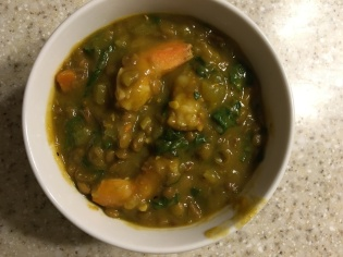 Lentil shrimp stew